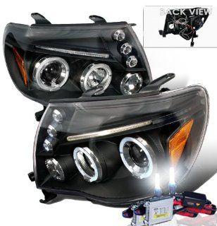 High Performance Xenon HID Toyota Tacoma Halo LED Projectors Headlights with Premium Ballast (Black Housing w/ Clear Lens & 4300K HID Lighting Output) Automotive