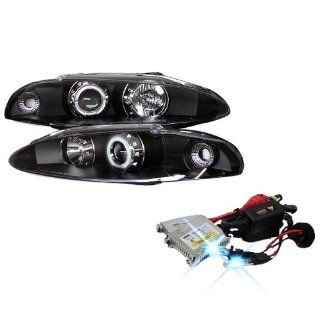 High Performance Xenon HID Mitsubishi Eclipse CCFL Projector Headlights with Premium Ballast   Black with 10000K Deep Blue HID Automotive