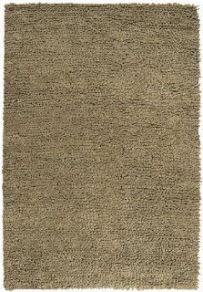 8' x 10' Afelpado Solid Khaki Ultra Plush Hand Woven Wool Area Throw Rug   Handmade Rugs