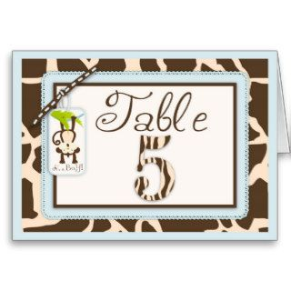 Safari Monkey Animal Print Baby Shower Table Card
