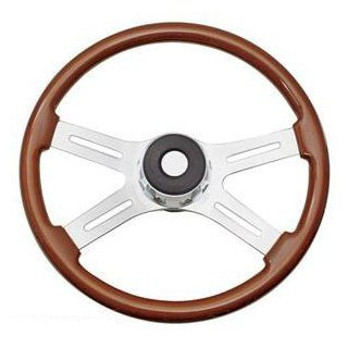 "18"" Wood Grain Steering Wheel with Chrome   Kenworth '95   '97 Automotive"