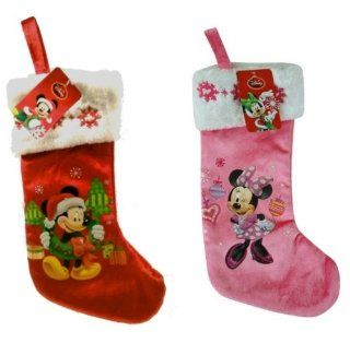 "Disney Mickey & Minnie Mouse 16"" Velour Stocking with Embroidery on Cuff   Christmas Stockings"