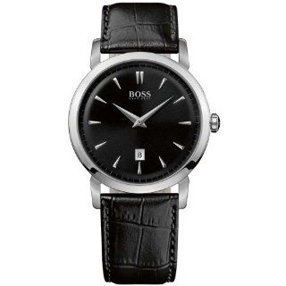 Hugo Boss Gents Stainless Steel Watch with Black Leather Strap at  Men's Watch store.