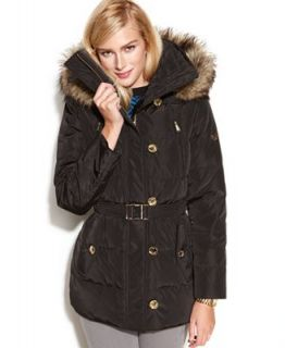 MICHAEL Michael Kors Petite Coat, Hooded Faux Fur Trim Quilted Belted Puffer   Coats   Women