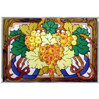 Grapes Painted/Stained Glass Panel V 239   Stained Glass Window Panels