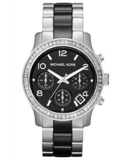 Michael Kors Womens Chronograph Runway Black and Silver Tone Stainless Steel Bracelet Watch 39mm MK5677   Watches   Jewelry & Watches