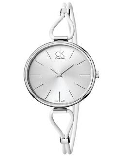 Calvin Klein Watch, Womens Swiss Selection White Leather Strap 38mm K3V231L6   Watches   Jewelry & Watches