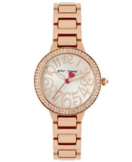 Betsey Johnson Womens Rose Gold Tone Tiny Time Pave Dial Bracelet Watch 27mm BJ00272 03   Watches   Jewelry & Watches