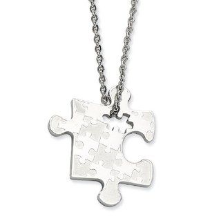 Stainless Steel Puzzle Piece Pendant Necklace   22 Inch Jewelry