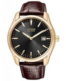 Citizen Mens Eco Drive Brown Leather Strap Watch 40mm AU1043 00E   Watches   Jewelry & Watches