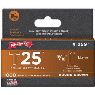 Arrow Fasteners 259 T25 Staple, 9/16, 1,000 Pk Hardware