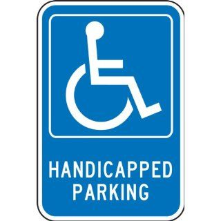 "Accuform Signs FRA227RA Engineer Grade Reflective Aluminum Handicap Parking Sign, For Federal, Legend ""HANDICAPPED PARKING"" with Graphic, 12"" Width x 18"" Length x 0.080"" Thickness, White on Blue"