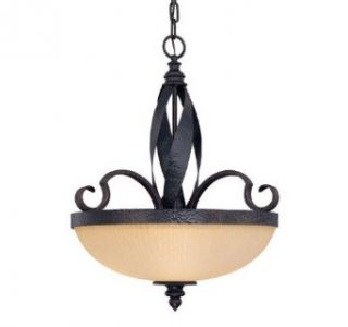 Savoy House 7 226 4 25 Carmel Collection 4 Light Pendant, Slate Finish with Cream Ribbed Glass   Ceiling Pendant Fixtures