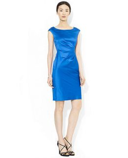 Lauren Ralph Lauren Petite Cap Sleeve Satin Sheath Dress   Dresses   Women