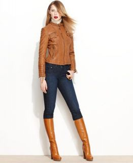 MICHAEL Michael Kors Jacket, Leather Motocross   Jackets & Blazers   Women