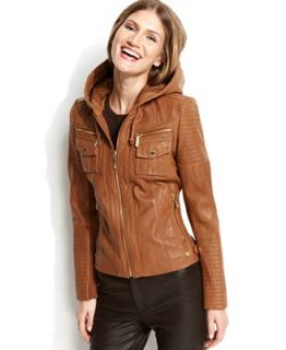 MICHAEL Michael Kors Hooded Leather Jacket   Coats   Women