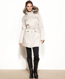 Kenneth Cole Reaction Hooded Faux Fur Trim Parka Coat   Coats   Women