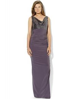 Lauren by Ralph Lauren Dress, Sleeveless Sequin Cowl Neck Gown   Dresses   Women