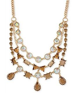 Betsey Johnson Antique Gold Tone Clear and Topaz Crystal Bow Frontal Necklace   Fashion Jewelry   Jewelry & Watches