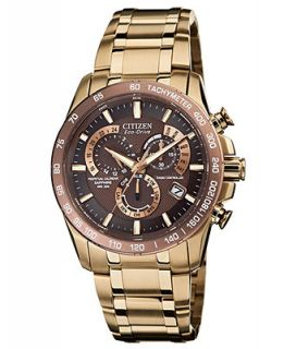 Citizen Mens Eco Drive Perpetual Chrono A T Rose Gold Tone Stainless Steel Bracelet Watch 42mm AT4106 52X   Watches   Jewelry & Watches