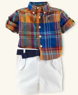Ralph Lauren Baby Set, Baby Boys Madras Shirt and Chino Shorts   Kids