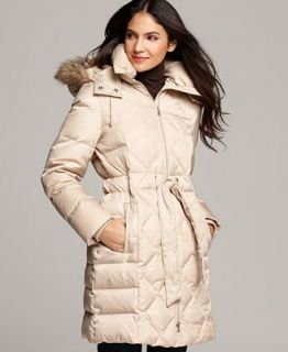 Kenneth Cole Reaction Coat, Faux Fur Hooded Long Sleeve Quilted Belted Puffer   Coats   Women