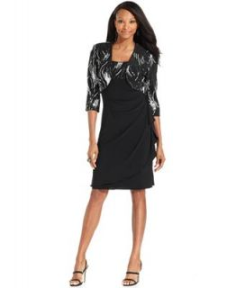 Alex Evenings Dress and Jacket, Sleeveless Sequined Draped Cocktail   Dresses   Women