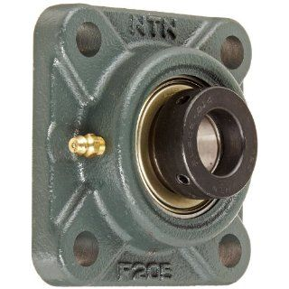 "NTN AELF205 014D1 Light Duty Flange Bearing, 4 Bolts, Eccentric Lock, Regreasable, Contact Seals, Cast Iron, Inch, 7/8"" Bore, 2 3/4"" Bolt Hole Spacing Width, 3 3/4"" Height Flange Block Bearings"