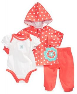 First Impressions Baby Set, Baby Girl Polka Dot Hoodie, Bodysuit & Sweatpants   Kids