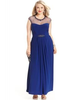 Patra Plus Size Dress, Cap Sleeve Illusion Beaded Gown   Dresses   Plus Sizes