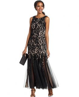 Betsy & Adam Sleeveless Lace Illusion Pleat Gown   Dresses   Women