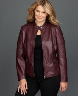 INC International Concepts Plus Size Metallic Faux Leather Moto Jacket   Jackets & Blazers   Plus Sizes