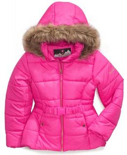 Protection System Kids Coat, Girls Faux Fur Trim Belted Bubble Jacket   Kids