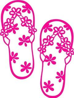 Design with Vinyl Design 199 Flip Flops Vinyl Wall Decal Sticker, 12 Inch By 8 Inch, Dark Pink