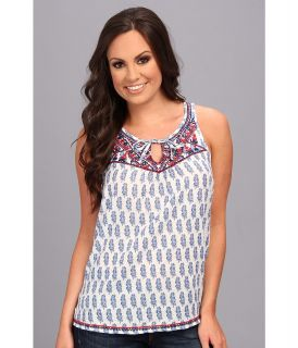 Lucky Brand Mixed Paisley Tank Womens Sleeveless (Blue)