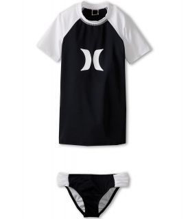 Hurley Kids One Only Solids Rashguard Top Banded Pant Girls Swimwear Sets (Black)