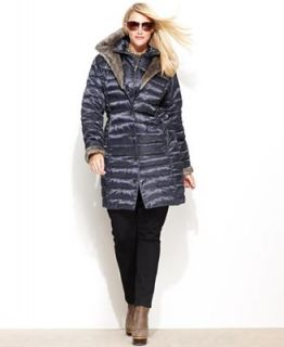 Laundry by Shelli Segal Plus Size Coat, Faux Fur Lined Hooded Puffer   Coats   Women