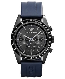 Emporio Armani Watch, Mens Chronograph Blue Rubber Strap 43mm AR6113   Watches   Jewelry & Watches