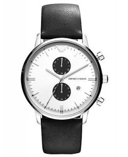 Emporio Armani Watch, Chronograph Black Leather Strap 43mm AR0385   Watches   Jewelry & Watches
