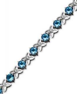 Sterling Silver Blue Topaz Link Bracelet (20 22 5/8 ct. t.w.)   Bracelets   Jewelry & Watches