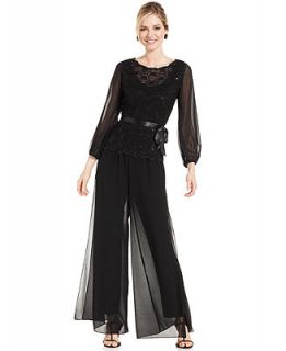 Alex Evenings Long Sleeve Sequined Lace Top & Chiffon Wide Leg Pants   Women