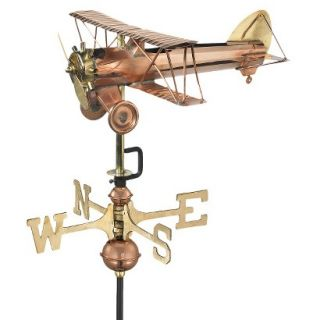 Good Directions Biplane Garden Weathervane   Polished Copper w/Roof Mount