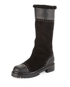 Alexander McQueen Studded Mid Calf Shearling Fur Lined Boot, Black