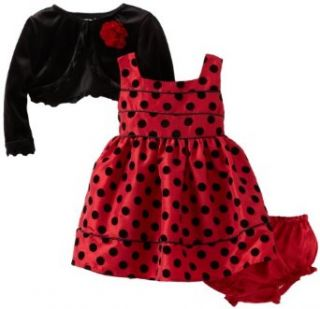 Youngland Baby Girls Newborn Flock Dot Taffeta Dress with Cardigan, Red, 6 9 Months Clothing