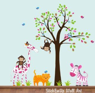 "Baby Nursery Wall Decals Safari Jungle Childrens Themed 76"" X 99"" (Inches) Animals Trees Forest Woodlands Wildlife Repositionable Removable Reusable Wall Art Better than vinyl wall decals Superior Material  Nursery Wall Decor  Baby"