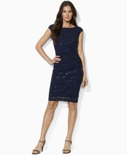 Lauren by Ralph Lauren Dress, Cap Sleeve Stretch Lace Sequin   Dresses   Women