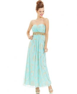 Betsy & Adam Petite Strapless Foil Print Beaded Gown   Dresses   Women