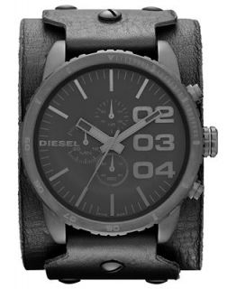 Diesel Watch, Mens Chronograph Black Leather Cuff Strap 51mm DZ4272   Watches   Jewelry & Watches