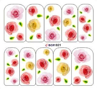 Egoodforyou BLE Water Slide Nail Tattoo Nail Decal Sticker Classicism Oil Painting (Fresh Roses Follower) with one packaged nail art flower sticker bonus  Beauty