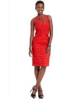 Maggy London Dress, Sleeveless Illusion Floral Lace Belted Sheath   Dresses   Women